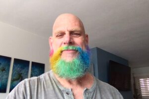 Steve with a rainbow beard